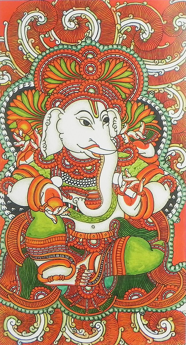 Lord ganesha reprint on paper 17 5 x 9 5 inches unframed for Mural art of ganesha
