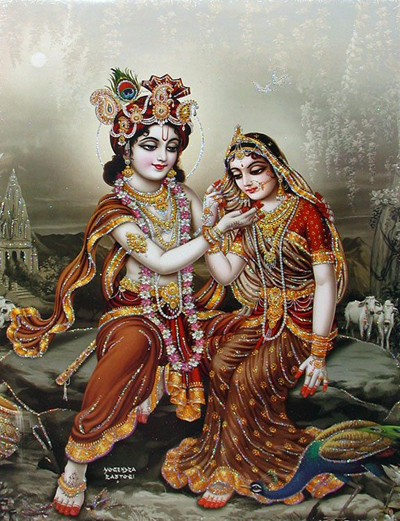Krishna Mesmerised By Radha S Beauty Poster With Glitter