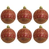 Six Red Plastic Balls for Christmas Tree Decoration