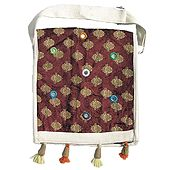 Maroon Velvet Lined Jute Bag with Mirrorwork One Open and One Zipped Pocket