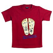 Printed Radha's Feet on Red T-Shirt