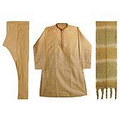 Cotton Silk Churidar Kurta with Embroidery