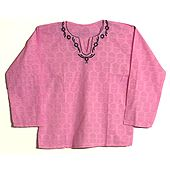 Pink Short Kurta with Embroidered Neckline