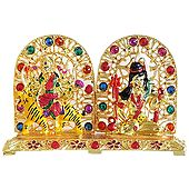 Metal Lord Shiva and Bhagawati for Car Dashboard