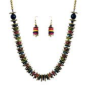 Wheel Beads Necklace and Earrings