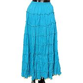 Blue Crushed Skirt with Zari Border