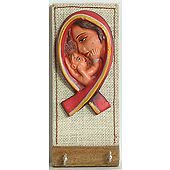 Terracotta Mother and Child on Wooden Key Rack