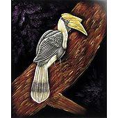 Hornbill on a Tree - Painting on Velvet