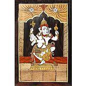 Wood Inlay of Dancing Ganesha