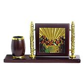 Wooden Pen Stand with Last Supper Photo