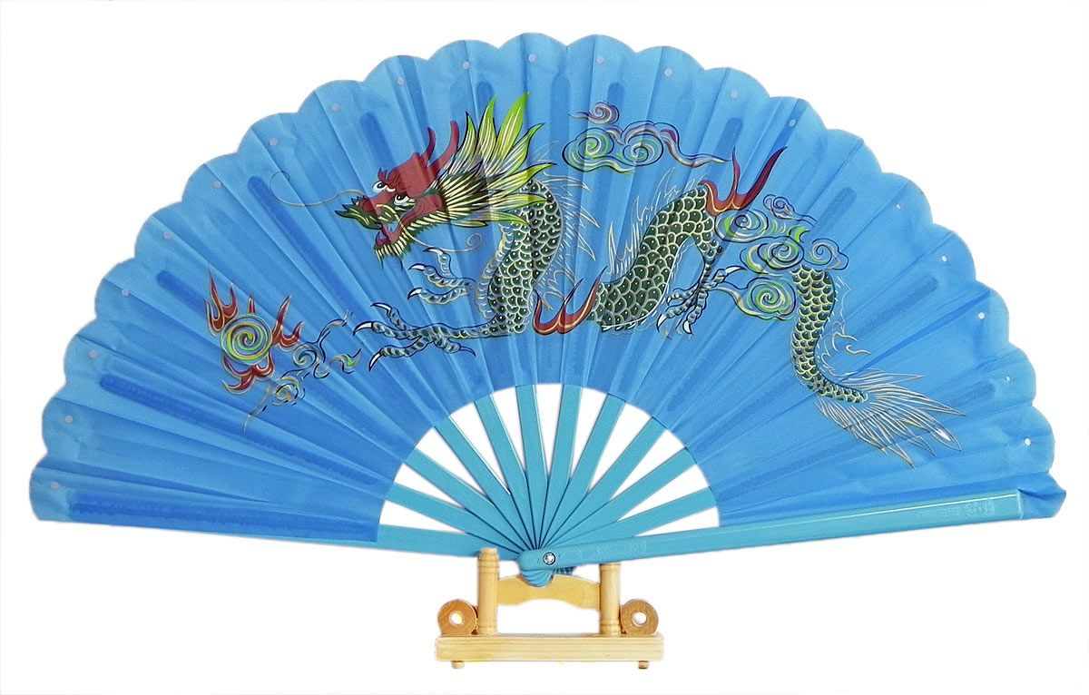 Japanese Fan Stand : Painted dragon on blue silk cloth folding fan with stand