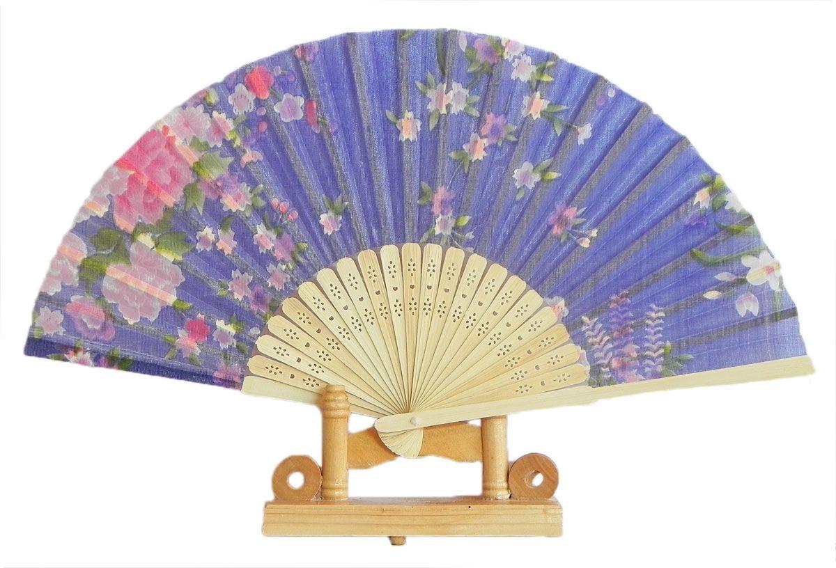 Japanese Fan Stand : Mauve silk cloth folding fan
