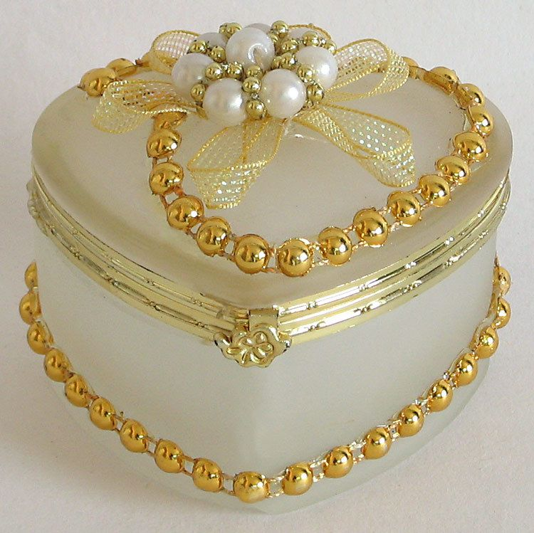 Off White Heart Shaped Jewelry Box Decorated with Beads and Ribbon