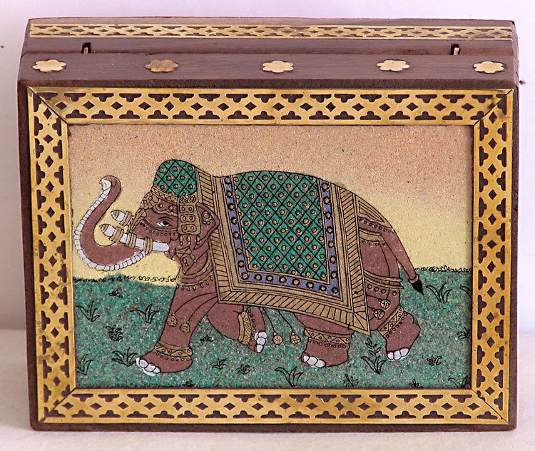 Wood Carving Jewelry Box with Real Crushed Gemstone Elephant