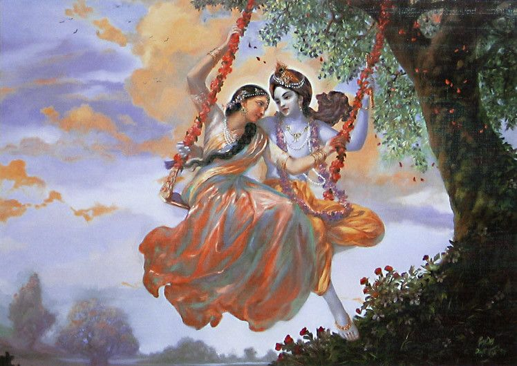 The Divine Lover Radha And Krishna On A Swing