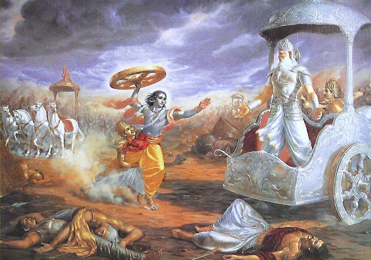 Krishna Attacks Bhishma With A Chariot Wheel