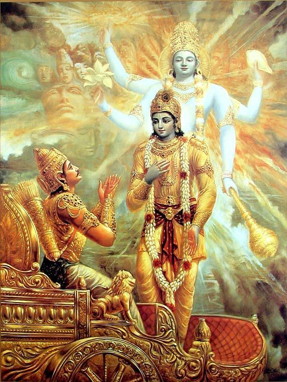 krishna showing vishvarupa to arjuna before kurukshetra war