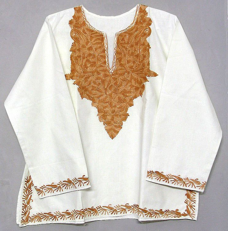 Cotton kurti with brown kashmiri embroidery