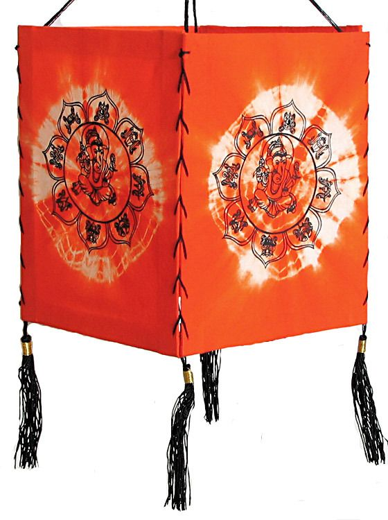 Hanging tie and dye foldable lamp shade with hand painted ganesha mozeypictures Image collections