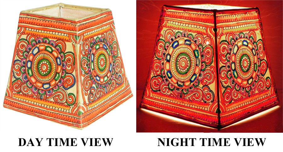 Elegant Leather Perforated Stand Lamp Shade With Colorful Hand Painted Rangoli  Design. Hover To Zoom