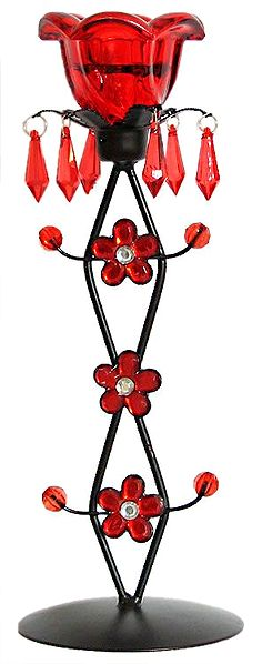 Iron and Red Glass Candle Stand