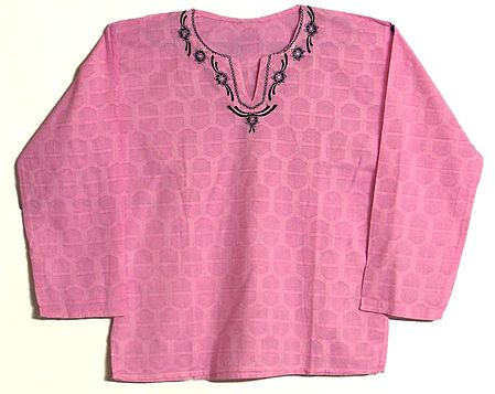 Pink Color Full Sleeve Short Kurta with Embroidered Neckline