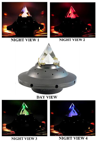 3-D Etched Glass Pyramid with Changing Colors