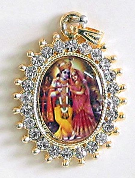 Stone studded radha krishna pendant white stone studded radha krishna pendant aloadofball Images