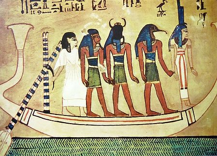 Isis, Thost, Sun God, Hu, and the Dead Man on Sun Barge (From an Egyptian Painting)