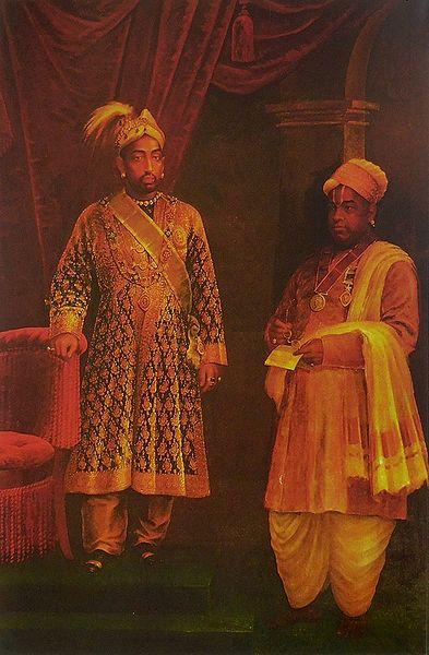 Visakham Thirunal Rama Varma of Travancore with Dewan