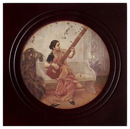 Lady Playing Sitar - Wall Hanging