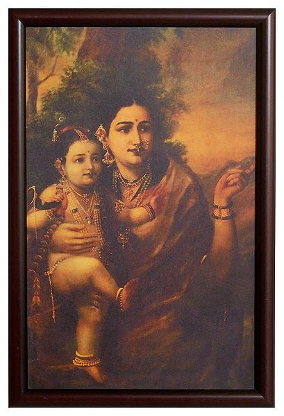Krishna in the Lap of Mother Yashoda  - Wall Hanging