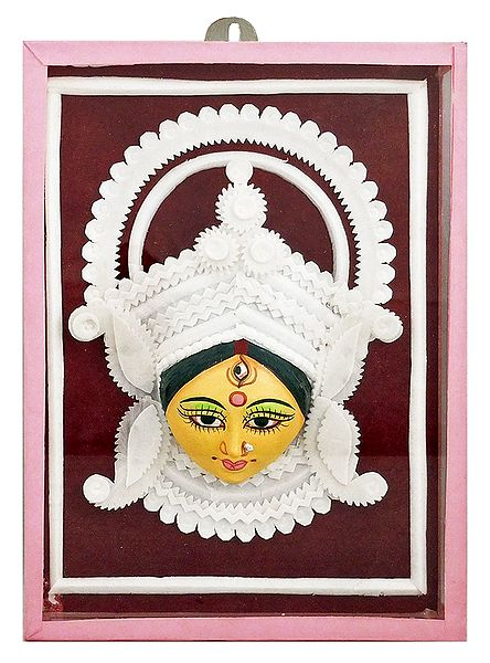 Clay Face of Durga with Shola Pith Decoration - Wall Hanging