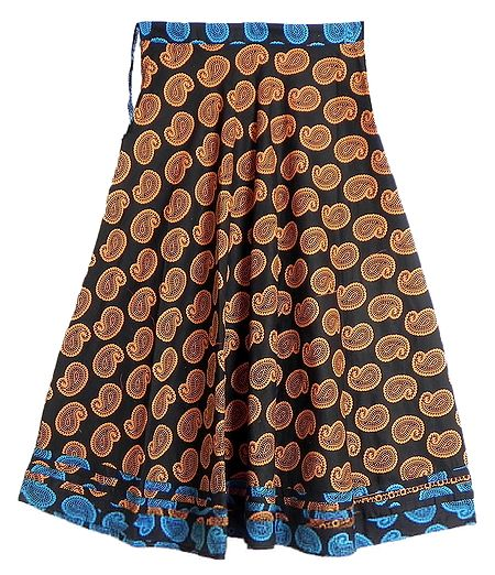 Yellow Paisley Print on Black Cotton Long Skirt with Cyan Blue Border