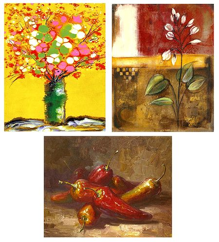 Flowers and Chillies - Set of 3 Abstract Posters