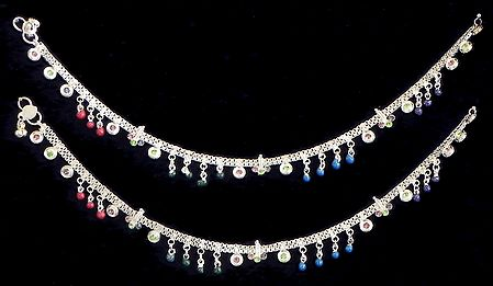Pair of Multicolor Bead and Stone Studded Metal Anklet
