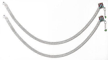Pair of White Metal Anklet
