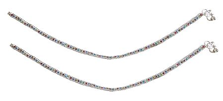 Pair of White Metal Anklets with Multicolor Stones