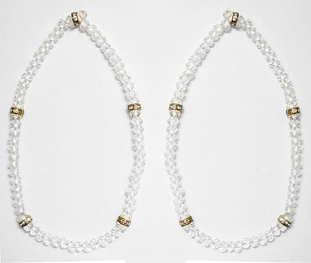 Pair of White Crystal Bead Stretchable Anklet