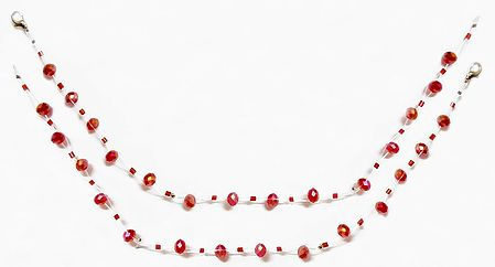 Pair of Red Crystal Bead Anklet