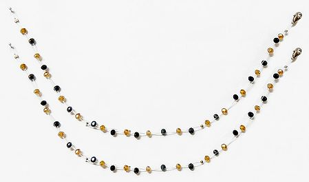 Pair of Black and Brown Crystal Bead Anklet