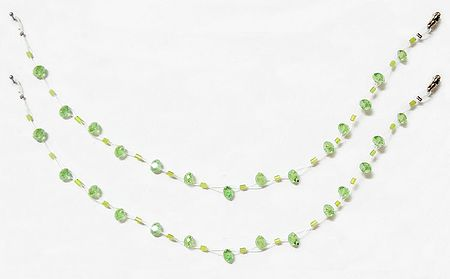 Pair of Green Crystal Bead Anklet