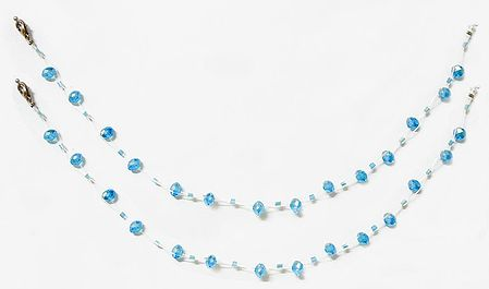Pair of Cyan Blue Crystal Bead Anklet
