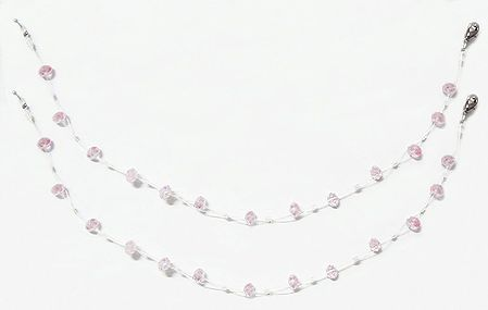 Pair of Light Pink Crystal Bead Anklet