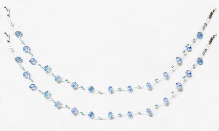 Pair of Light Blue Crystal Bead Anklet