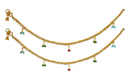 Pair of Metal Golden Anklets with Multicolor Beads