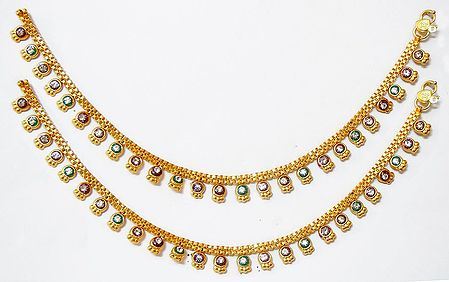 Pair of White Stone Studded Golden Anklet
