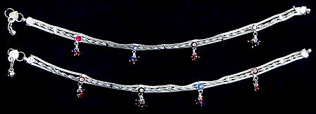 Pair of Metal Anklets with Colored Beads