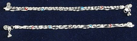 Pair of White Metal Chain Anklet