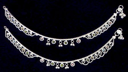 Pair of Multicolor Stone Studded Metal Anklet